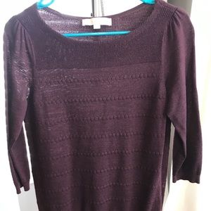 Loft 3/4 sleeve sweater, dotted, medium petite